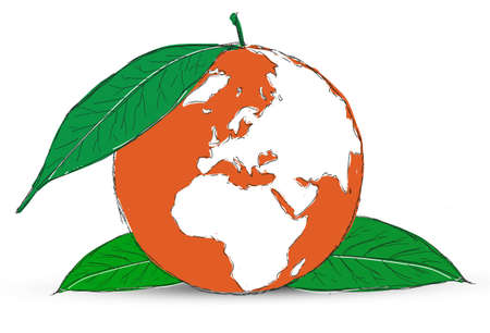 Symbol of globe with the plant Stock Photo - 12403560