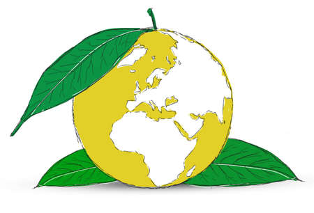 Symbol of globe with the plant Stock Photo - 12403557