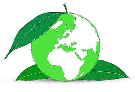 Symbol of globe with the plant Stock Photo - 12403555