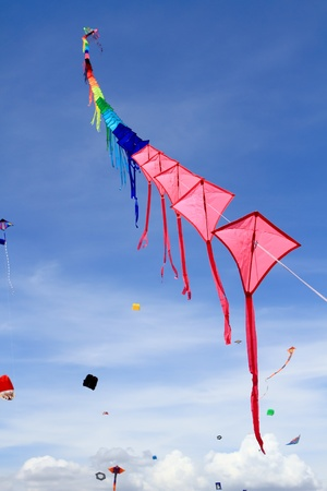 CHA-AM - MARCH 10: Colorful kites in the 12th Thailand International Kite Festival on March 9, 2012 in Naresuan Camp, Cha-am, Thailand