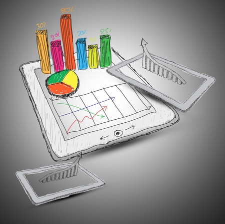 sketch computer tablet showing a spreadsheet with  charts photo