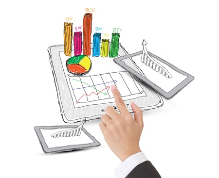 sketch computer tablet showing a spreadsheet with  charts Stock Photo - 12886585