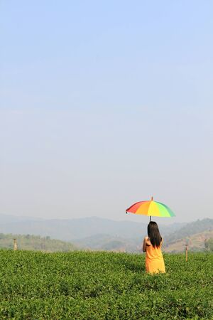 Beautiful woman holding multicolored umbrella and blue sky Stock Photo - 13261319