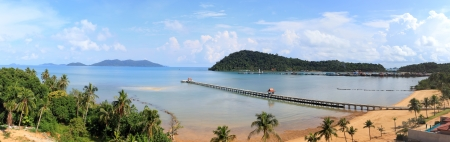 Sunny day on the tropical beach    Province Trat  koh chang island  Kingdom Thailand  Panorama photo