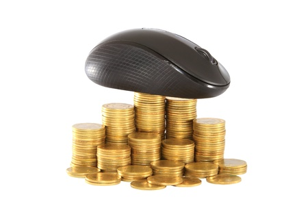 black computer mouse and golden coin photo
