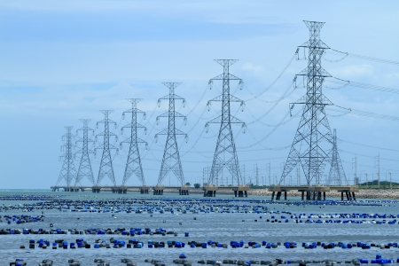 High voltage power pole in the sea
