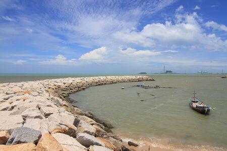 breakwater: Stone breakwater Stock Photo