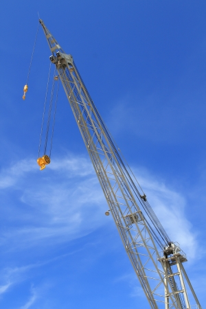 Close up shot of a crane at a harbou photo