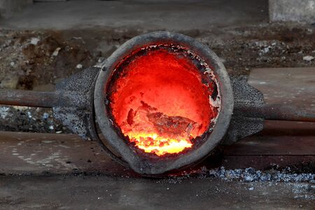 Liquid metal from blast furnace photo