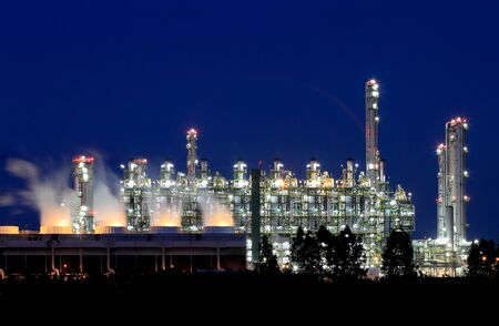Oil refinery at twilight  Map Ta Phut Industrial Estate Rayong Thailand