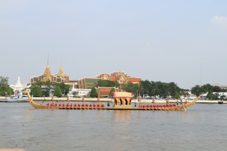 BANGKOK, THAILAND - November 2:one practice of ride the Royal boat .Thai Buddhist boats travel down Chao Phaya river to celebrate the kings 85 years on the throne nov. 2, 2012 in Bangkok.