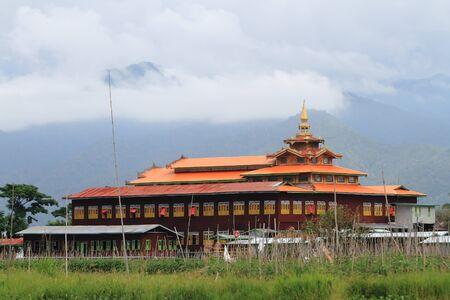 inle: Wooden burmese buddhist monastery on the Inle lake, Myanmar