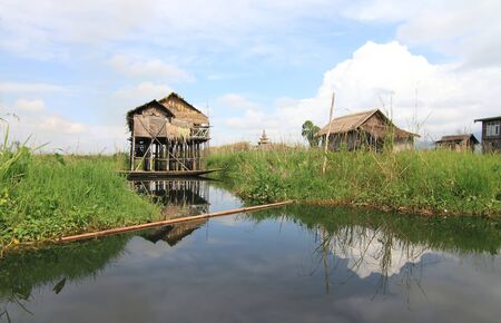 lake dwelling: Houses at Inle lake, Myanmar