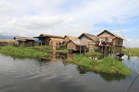Houses at Inle lake, Myanmar photo