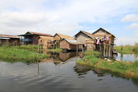 inle: Houses at Inle lake, Myanmar