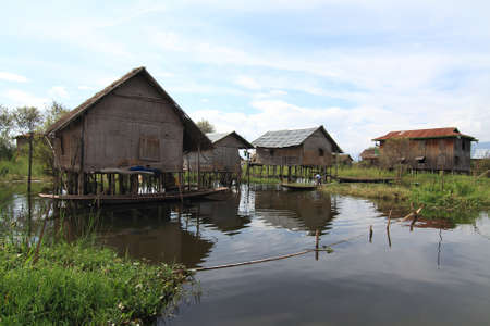 Houses at Inle lake, Myanmar Stock Photo - 16475064