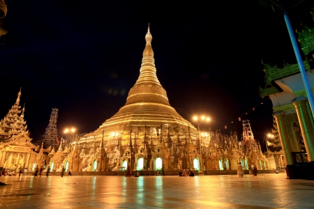 atmosphere of dusk at Shwedagon pagoda in Yagon, Myanmar photo