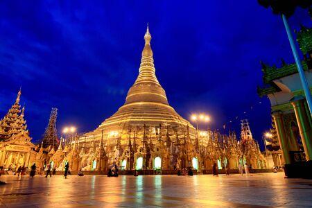 atmosphere of dusk at Shwedagon pagoda in Yagon, Myanmar