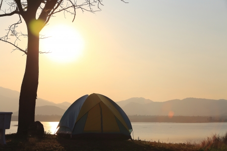 Campground beside the lake,National park,Thailand Stock Photo - 17295739