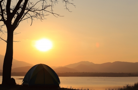 Campground beside the lake,National park,Thailand Stock Photo - 17295824