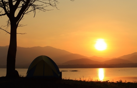 Campground beside the lake,National park,Thailand Stock Photo - 17295817