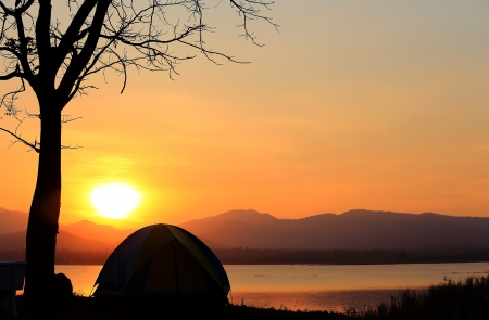 Campground beside the lake,National park,Thailand Stock Photo - 17295872