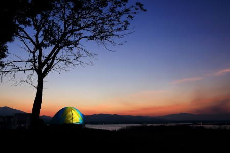 Campground beside the lake,National park,Thailand
