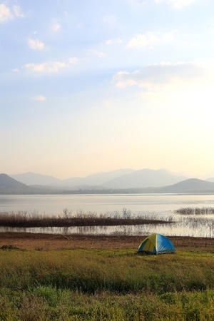 Camping place beside the lake Stock Photo - 17296016