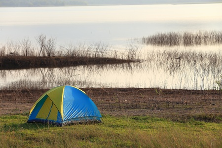 Camping place beside the lake Stock Photo - 17296022