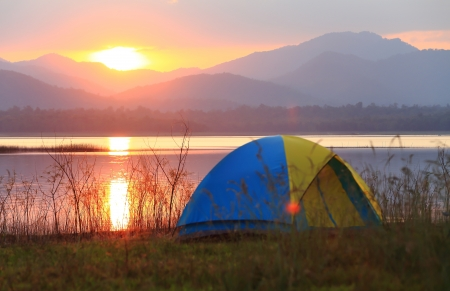 roughing: Campground beside the lake,National park,Thailand
