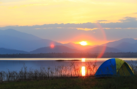 Campground beside the lake,National park,Thailand Stock Photo - 17295913