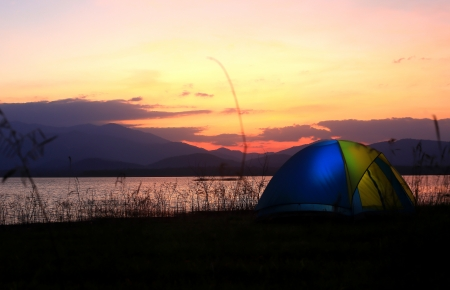 Campground beside the lake,National park,Thailand Stock Photo - 17295890