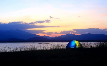 Campground beside the lake,National park,Thailand Stock Photo - 17295841