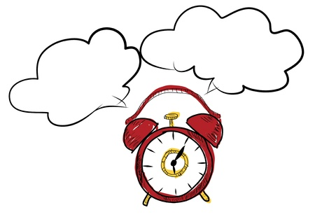 drawing red clock doodle Stock Photo - 17296050