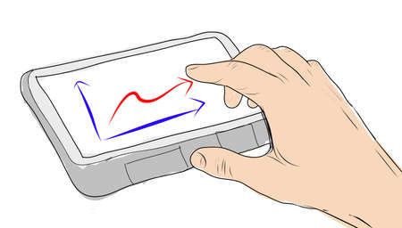drawing  Tablet screen with graph and hand point photo