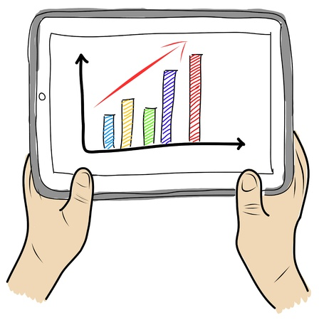 drawing  Tablet screen with graph on  hand photo