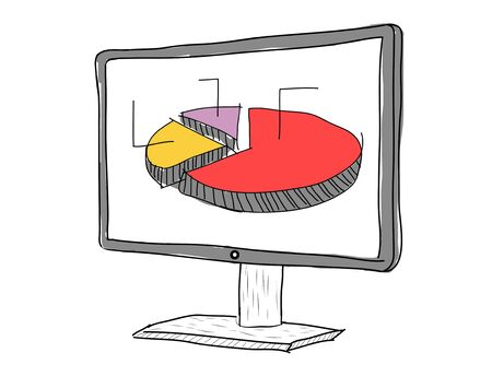 drawing  Computer display showing business graph photo