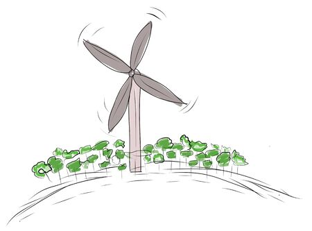 solarpower: scribble sketch of eco environment  (Wind turbine)
