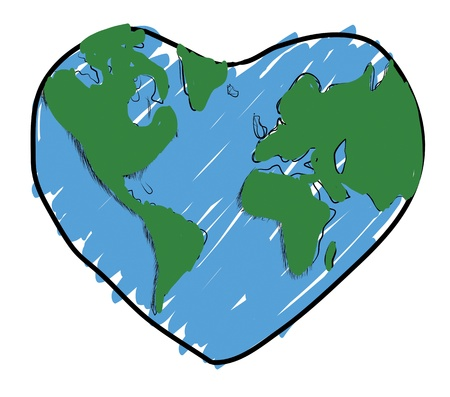 drawing Love the earth Stock Photo - 17469571