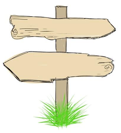 sheep road sign: Wood sign board - cartoon doodle Stock Photo