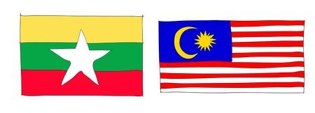 hand drawn   of flag of ASEAN Economic Community, AEC Stock Photo - 17576529