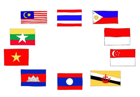 hand drawn   of flag of ASEAN Economic Community, AEC Stock Photo - 17576541