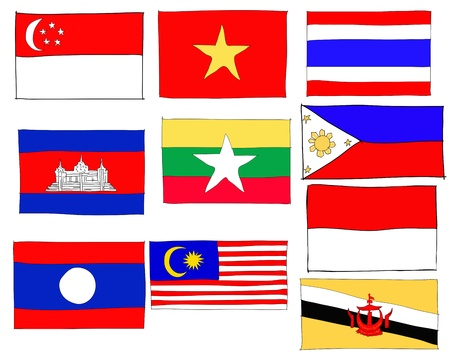 asean: hand drawn   of flag of ASEAN Economic Community, AEC
