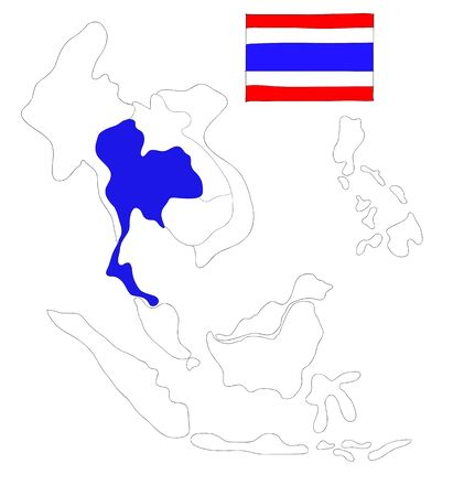 drawing  map of South East Asia countries that will be member of AEC with Thailand flag symbol photo