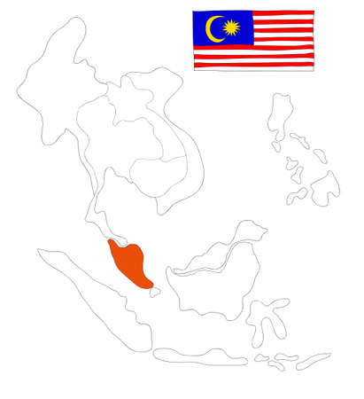 drawing  map of South East Asia countries that will be member of AEC with Malaysia flag symbol photo