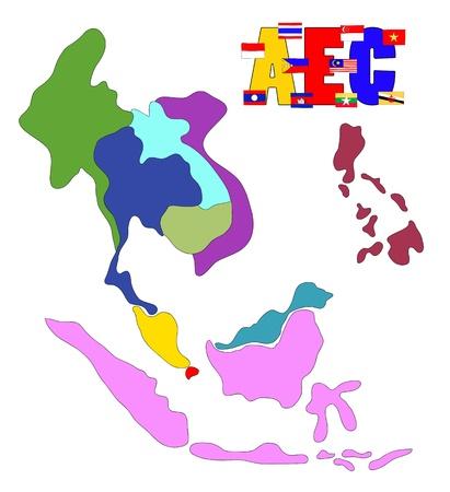 drawing  ASEAN Economic Community, AEC Stock Photo - 17576564