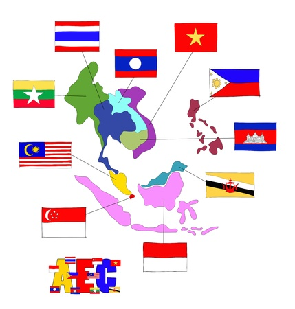 asean: drawing  ASEAN Economic Community, AEC