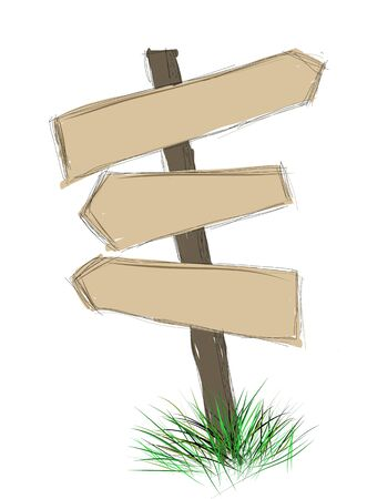 Wood sign board - cartoon doodle photo