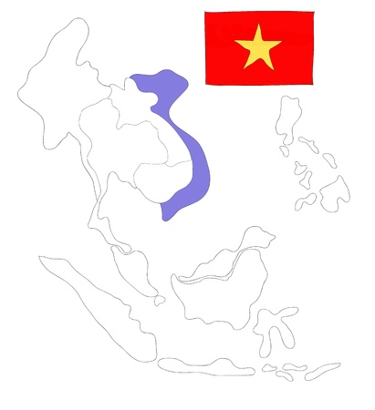 drawing  map of South East Asia countries that will be member of AEC with Vietnam flag symbol Stock Photo - 17576555