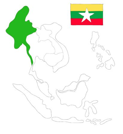seaa: drawing  map of South East Asia countries that will be member of AEC with Myanmar flag symbol Stock Photo